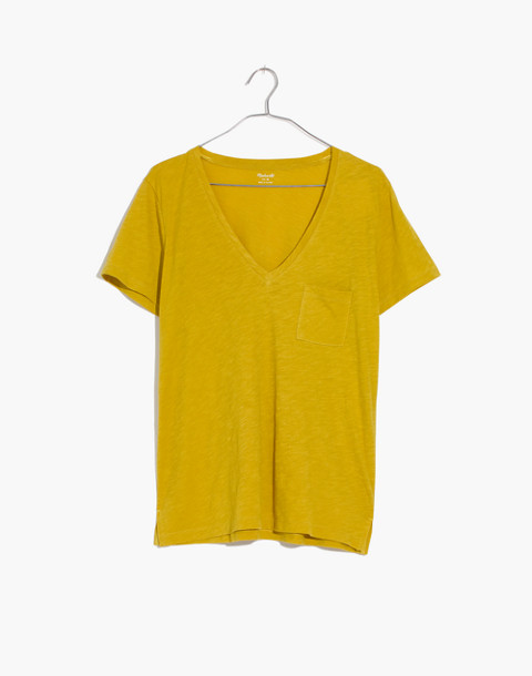 Whisper Cotton V-Neck Pocket Tee in golden meadow image 4