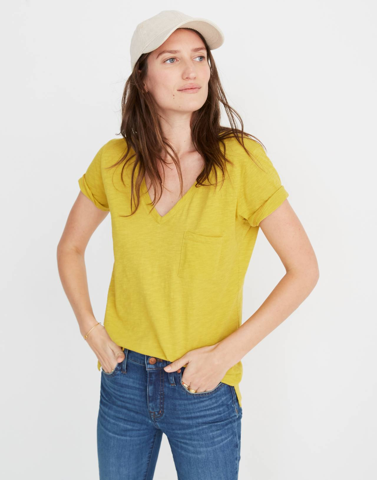 Whisper Cotton V-Neck Pocket Tee in golden meadow image 1