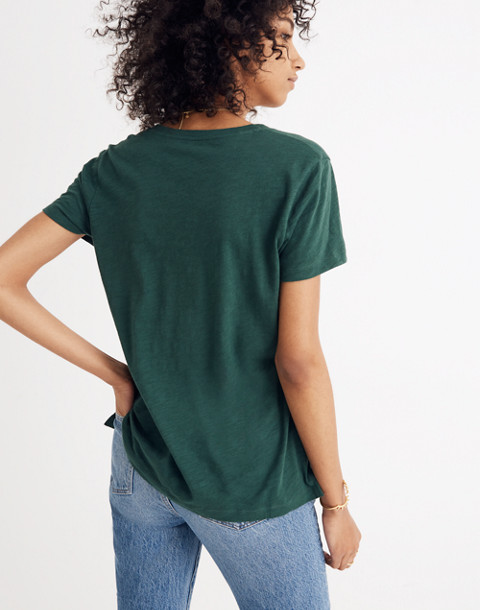Whisper Cotton V-Neck Pocket Tee in smoky spruce image 3
