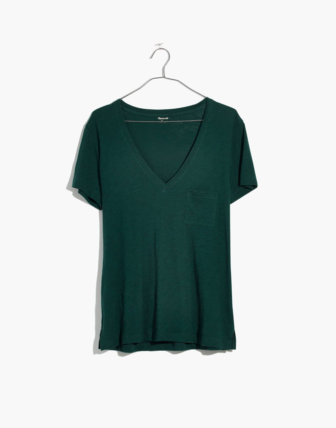 Whisper Cotton V-Neck Pocket Tee in smoky spruce image 4