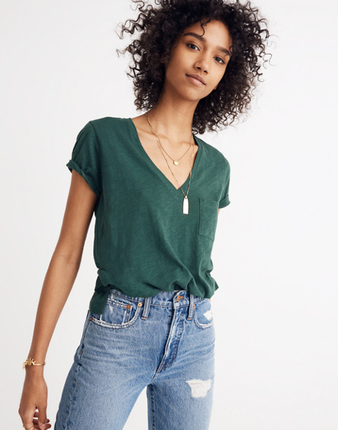 Whisper Cotton V-Neck Pocket Tee in smoky spruce image 1