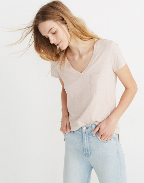 Whisper Cotton V-Neck Pocket Tee in ashen silver image 2