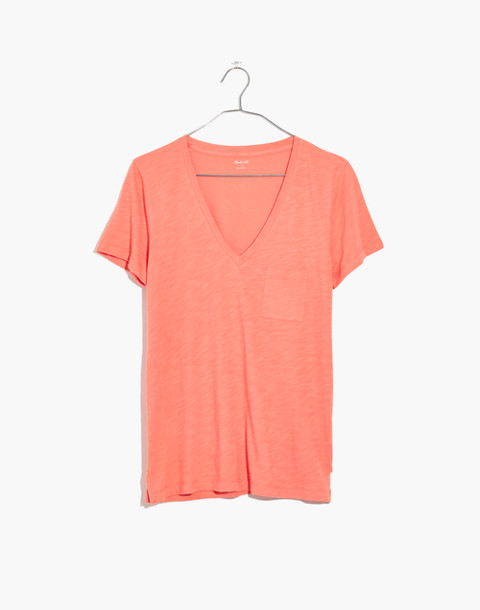 Whisper Cotton V-Neck Pocket Tee in dried coral image 1