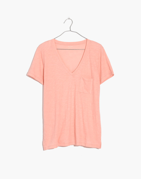 Whisper Cotton V-Neck Pocket Tee in light blossom image 3