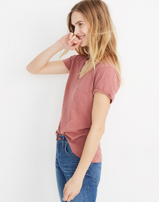 Whisper Cotton V-Neck Pocket Tee in autumn berry image 2