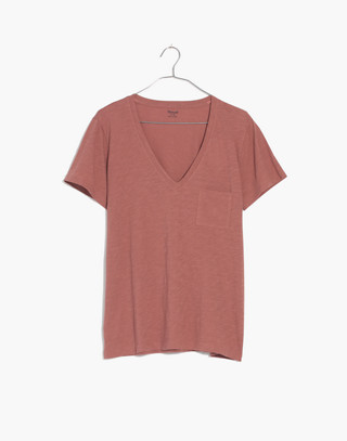 Whisper Cotton V-Neck Pocket Tee in autumn berry image 3