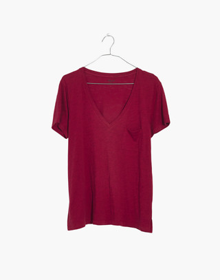 Whisper Cotton V-Neck Pocket Tee in deep carmine image 1