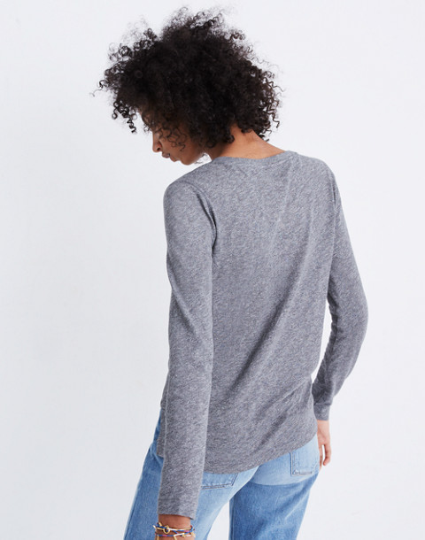 Whisper Cotton Long-Sleeve Crewneck Tee in hthr mercury image 3