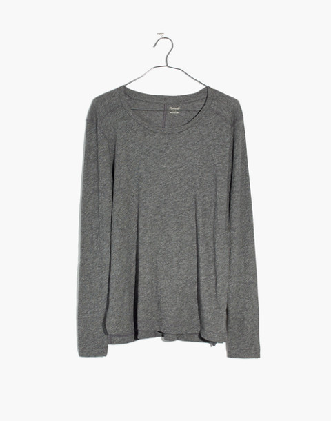 Whisper Cotton Long-Sleeve Crewneck Tee in hthr mercury image 4