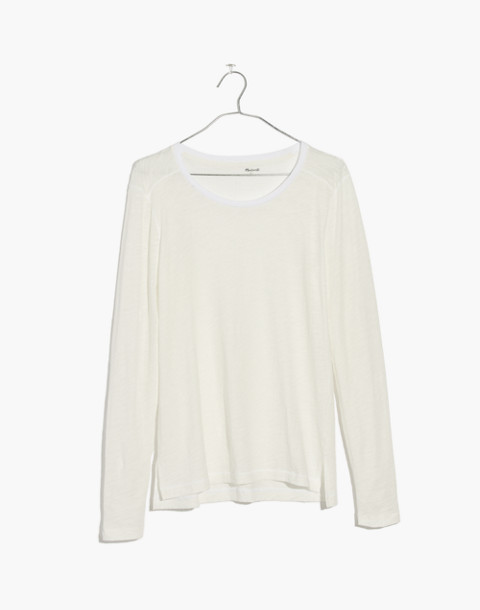 Whisper Cotton Long-Sleeve Crewneck Tee