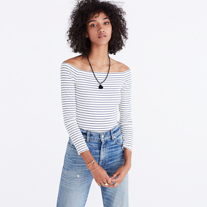Off-the-Shoulder Bodysuit in Stripe