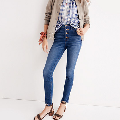 "Tall 10"" High-Rise Skinny Jeans: Chewed-Hem Edition"