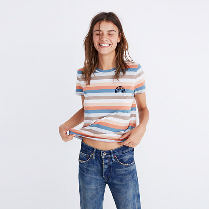 Embroidered Rainbow Striped Tee