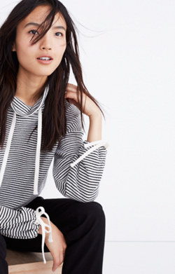 Funnelneck Tie-Sleeve Sweatshirt in Stripe