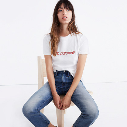 Embroidered Au Revoir Retro Tee
