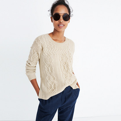 Open-Side Bobble Pullover Sweater