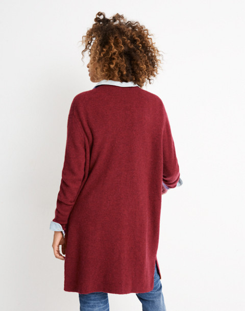 Kent Cardigan Sweater in Coziest Yarn in hthr scarlet image 3