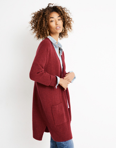 Kent Cardigan Sweater in Coziest Yarn in hthr scarlet image 1