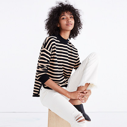 Mockneck Boxy Pullover Sweater in Stripe