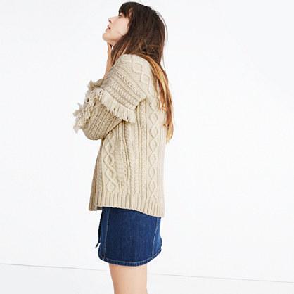 Cableknit Fringe Cardigan Sweater