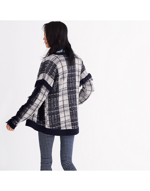 Plaid Fringe Cardigan Sweater