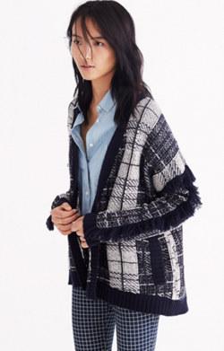 Plaid Fringe Cardigan Sweater