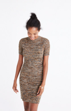 Marled Slim Mockneck Sweater-Dress