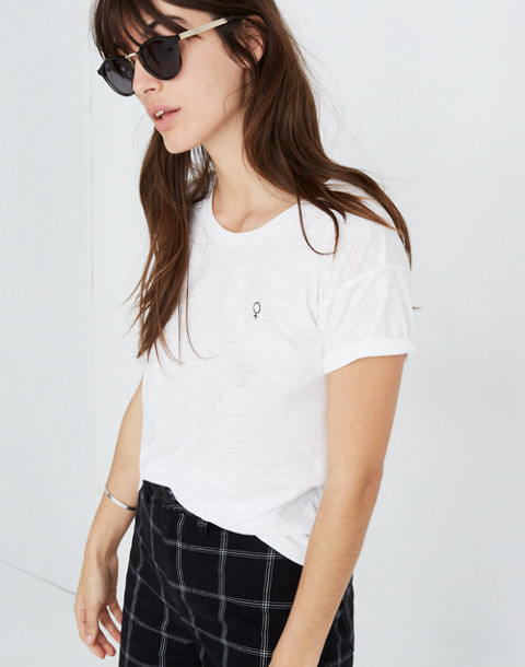 Madewell x Girls Inc. Whisper Cotton Female Symbol Crewneck Tee in optic white image 2