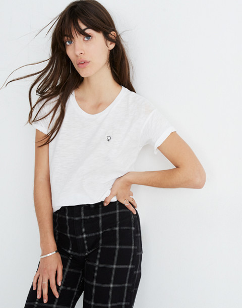 Madewell x Girls Inc. Whisper Cotton Female Symbol Crewneck Tee in optic white image 1