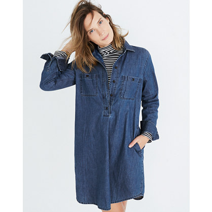 Denim Popover Shirtdress