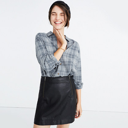 Leather Uptown Zip Skirt