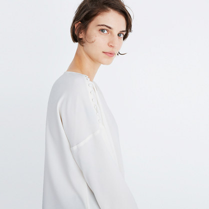 Crepe Button-Shoulder Top