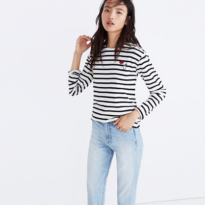 Madewell x Armor-Lux® Embroidered Hands and Lips Striped Tee