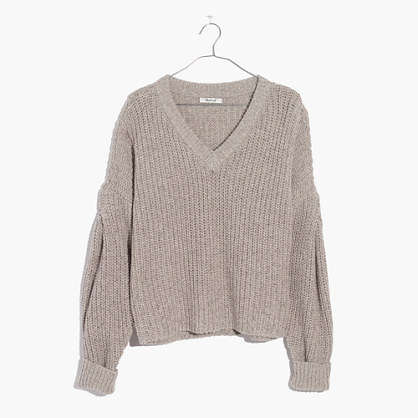 Pleat-Sleeve Pullover Sweater