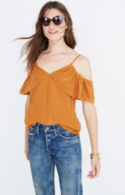 Silk Ruffle Cold-Shoulder Top