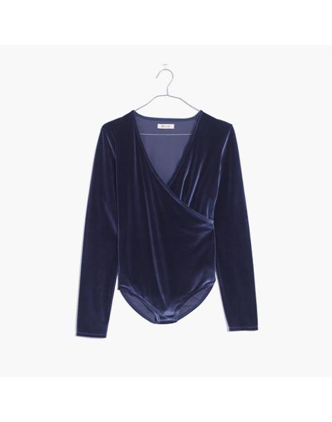 Velvet Wrap Bodysuit in nightfall image 4