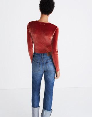 Velvet Wrap Bodysuit in burnished rust image 2