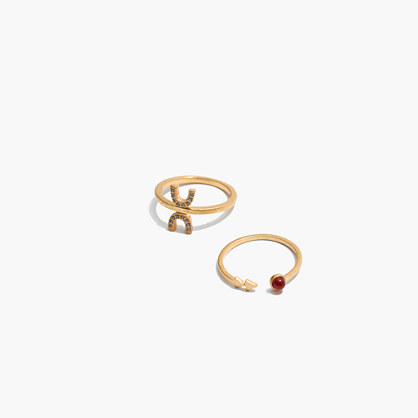 Tiny Jewels Red Agate Ring Set