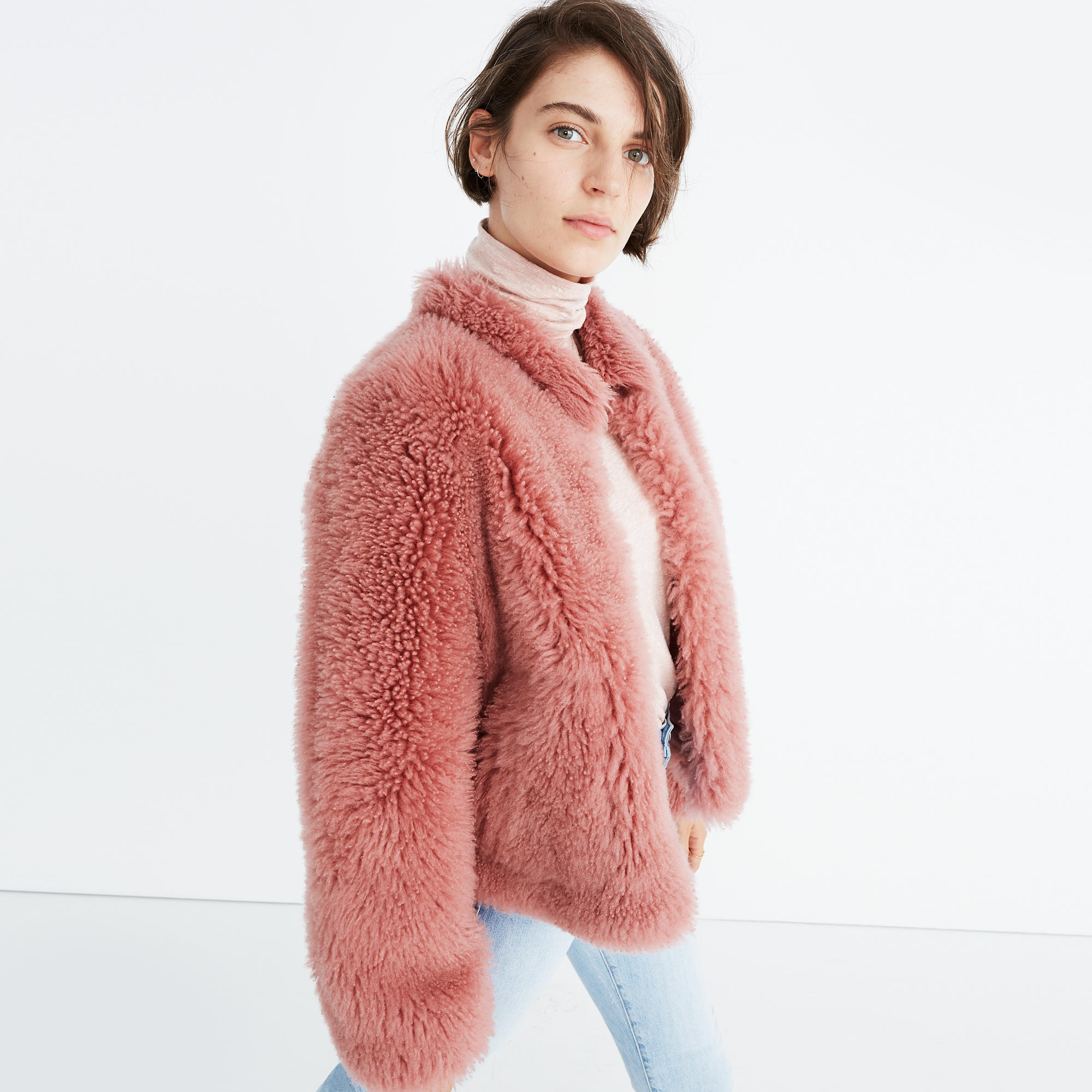 Pink Mongolian Shearling Jacket : leather jackets | Madewell