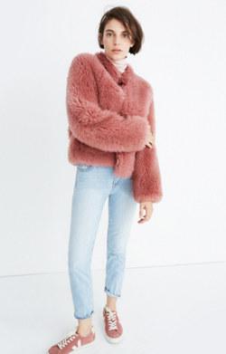 Pink Mongolian Shearling Jacket