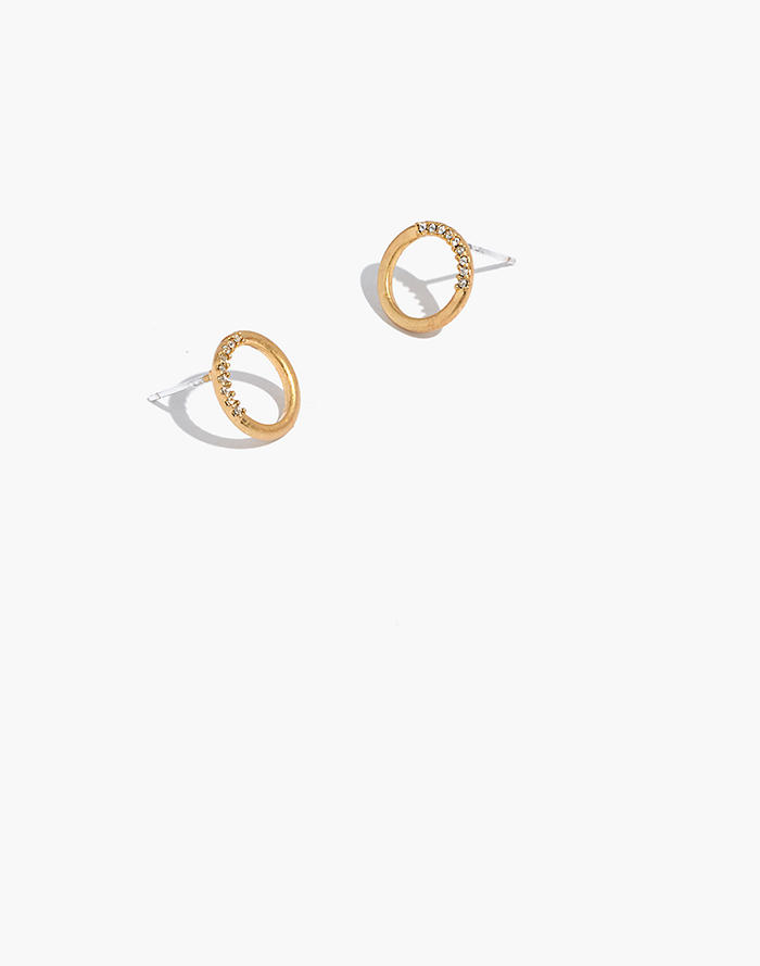 Pave Circle Stud Earrings