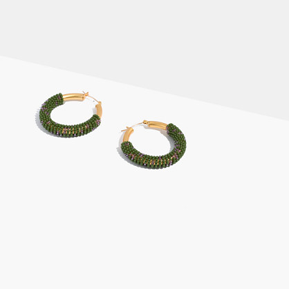 Bead-Wrapped Hoop Earrings