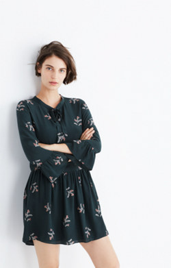 Silk Tie-Neck Dress in Wild Botanic