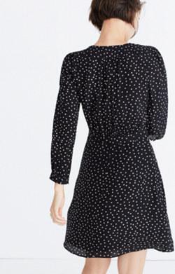 Silk Wrap-Neckline Dress in Star Scatter