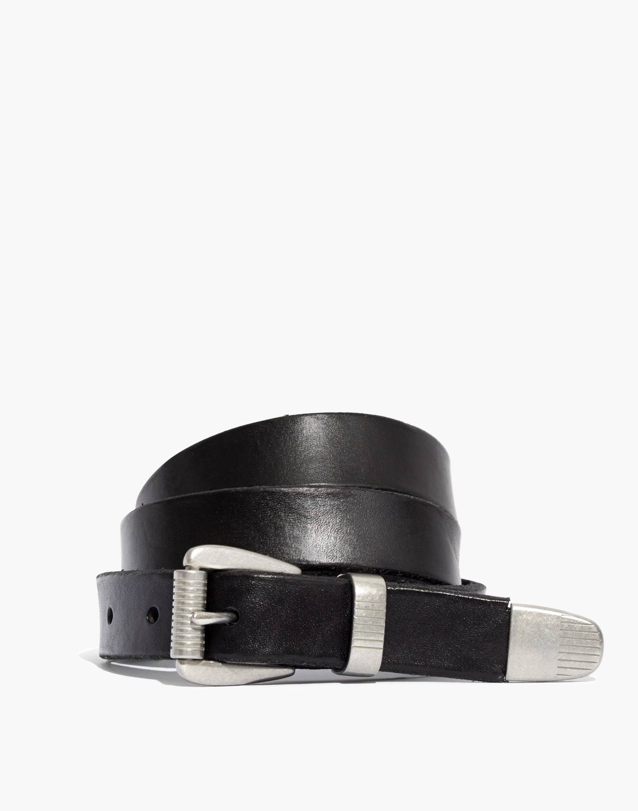 Leather Three-Piece Belt in true black image 1