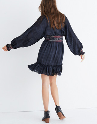 Ulla Johnson™ Silk Odette Smocked Mini Dress in midnight image 3