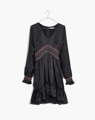 Ulla Johnson™ Silk Odette Smocked Mini Dress in midnight image 4