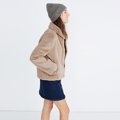 Shrunken Faux-Mink Jacket