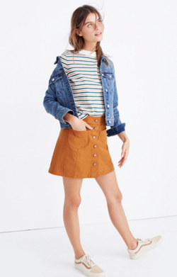 Garment-Dyed Patch-Pocket Skirt