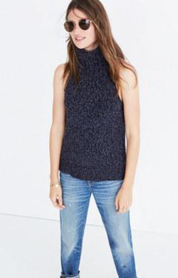 Turtleneck Cutaway Sweater-Vest